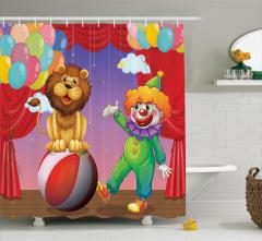 Palyaço Aslan ve Balon Desenli Duş Perdesi Rengarenk