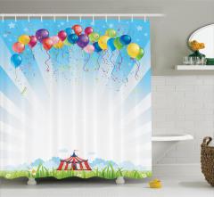 Sirk Balon ve Gökyüzü Temalı Duş Perdesi Rengarenk