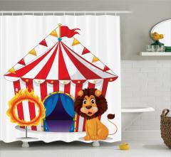 Sirk Aslan ve Ateş Desenli Duş Perdesi Çocuklar İçin