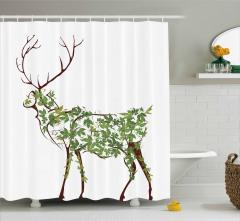 Yapraktan Geyik Desenli Duş Perdesi Sanatsal Dizayn