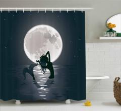 Gece ve Deniz Kızı Temalı Duş Perdesi Ay Işığı Deniz