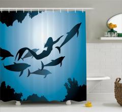Yunuslar ve Deniz Kızı Temalı Duş Perdesi Mavi Şık