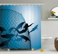 Yüzen Deniz Kızı Temalı Duş Perdesi Yunuslar Mavi