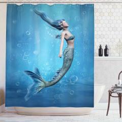 Mavi Deniz Kızı Temalı Duş Perdesi 3D Etkili Deniz