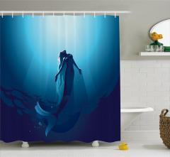 Mavi Deniz Kızı Desenli Duş Perdesi Masal Temalı