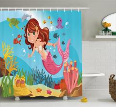 Rengarenk Deniz Kızı Temalı Duş Perdesi Çocuk İçin