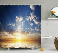 Gün Batımı ve Bulut Temalı Duş Perdesi Gökyüzü Mavi