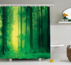 Sessiz Orman Temalı Duş Perdesi Doğa Ağaç Yeşil