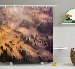 Sisli Mistik Orman Temalı Duş Perdesi Gün Doğumu