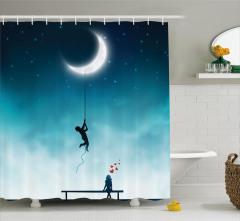 Aşk Temalı Duş Perdesi Ay Gece Romantik Mavi