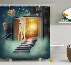 Kitap ve Kelebek Desenli Duş Perdesi Fil Balon
