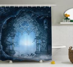 Masal Temalı Duş Perdesi Gece Sis Mavi Orman