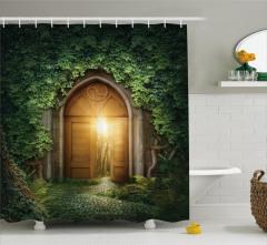 Sihirli Kapı Temalı Duş Perdesi Orman Yeşil