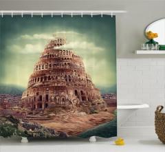 Babil Kulesi Temalı Duş Perdesi Antik Gökyüzü