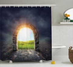 Cennete Açılan Kapı Temalı Duş Perdesi Yeşil