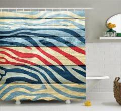 Rengarenk Zebra Desenli Duş Perdesi Ahşap Görünümlü