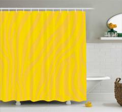 Zebra Desenli Duş Perdesi Sarı Turuncu Şık Tasarım