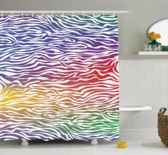 Rengarenk Zebra Desenli Duş Perdesi Şık Tasarım