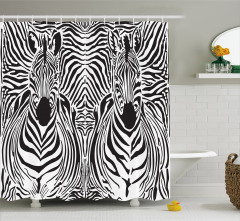 Zebra Desenli Duş Perdesi Siyah Beyaz Şık Tasarım