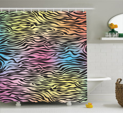 Rengarenk Zebra Desenli Duş Perdesi Renk Geçişli