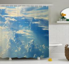 Büyüleyici Gökyüzü Temalı Duş Perdesi Bulutlar Mavi