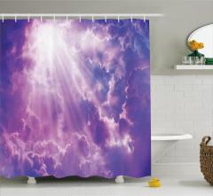 Büyüleyici Gökyüzü Temalı Duş Perdesi Mor Beyaz