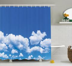 Mavi Gökyüzü Manzaralı Duş Perdesi Bulutlar Beyaz