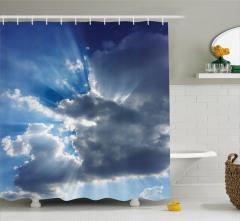 Büyüleyici Gökyüzü Temalı Duş Perdesi Bulutlar Beyaz