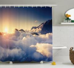 Dağ Manzaralı Duş Perdesi Büyüleyici Bulutlar Beyaz