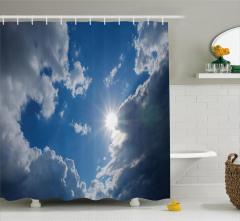 Büyüleyici Gökyüzü Temalı Duş Perdesi Güneş Bulutlar