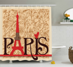 Paris Temalı Duş Perdesi Nostaljik Şık Tasarım