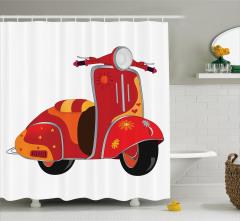 Hippi Temalı Duş Perdesi Kırmızı Çiçek Motor
