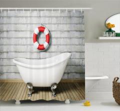 Banyo Temalı Duş Perdesi Antik Oda Küvet Şık