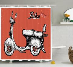 Retro Bisiklet Temalı Duş Perdesi Kırmızı Spor