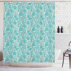 Dantel Desenli Duş Perdesi Mavi Şık Tasarım