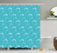 Okyanus Dalgaları Desenli Duş Perdesi Mavi Şık