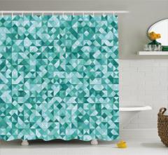 Mozaik Desenli Duş Perdesi Üçgen Yeşil Şık