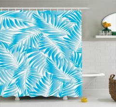 Turkuaz Duş Perdesi Egzotik Yapraklar Desenli Beyaz