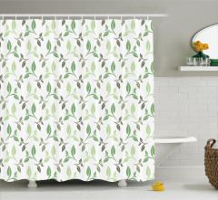 Çay Yaprakları Desenli Duş Perdesi Yeşil Beyaz Şık