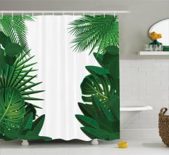 Palmiye Yaprakları Desenli Duş Perdesi Yeşil Beyaz