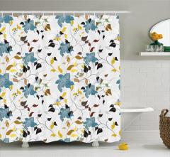 Rengarenk Duş Perdesi Çiçek ve Yaprak Desenleri