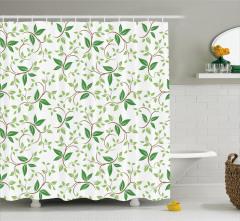 Beyaz Duş Perdesi Yeşil Yaprak Desenleri Şık Tasarım