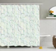 Beyaz Duş Perdesi Yeşil Yaprak Desenleri Çeyizlik