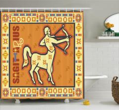 Astroloji Temalı Duş Perdesi Burç Desenli