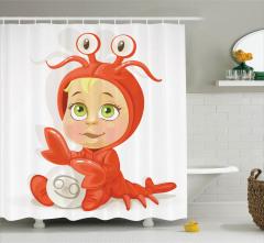 Yengeç Burcu Temalı Duş Perdesi Bebek Desenli
