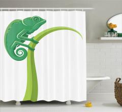 Kertenkele Desenli Duş Perdesi Yeşil Çocuklara