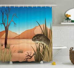 Çöl Sürüngeni Desenli Duş Perdesi Kahverengi