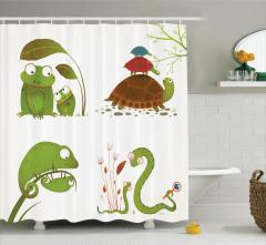Çocuklar İçin Duş Perdesi Hayvanlar Yeşil