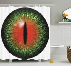 Hayvan Gözü Temalı Duş Perdesi Yeşil Kırmızı