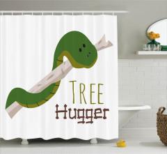 Yılan Desenli Duş Perdesi Yeşil Doğal Hayat